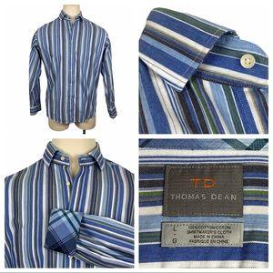 Thomas Dean Vertical Striped Button Down Shirt Lg